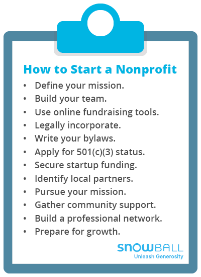 These are the 12 key steps required for starting a nonprofit organization.
