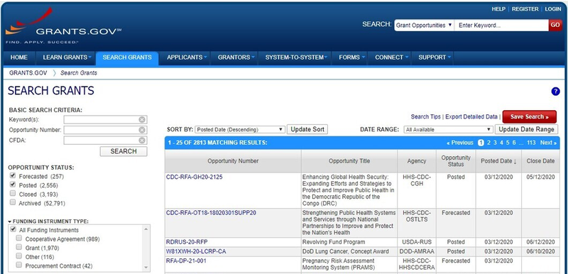 Check the grants.gov database for available nonprofit startup grants.